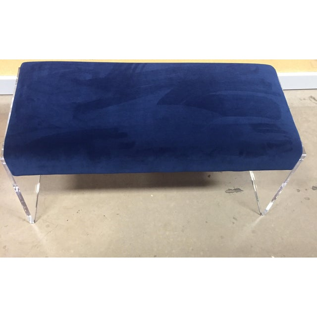 Navy Blue Velvet Bench Ottoman With Lucite Base - Image 2 of 6