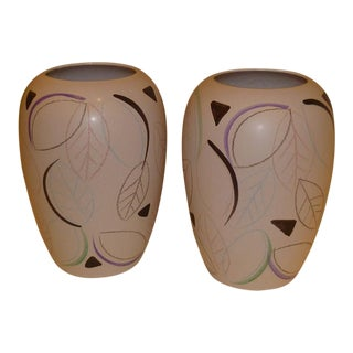 Tropical Modern West German Pottery Vases Scheurich - a Pair For Sale