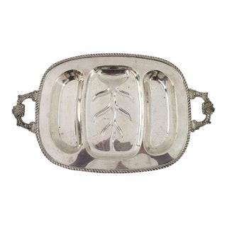 Elegant Silver Plate Heavy Meat & Vegetable Tray For Sale