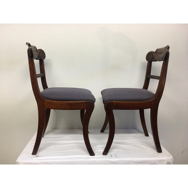Blue 19th Century Antique English Mahogany Chairs - Set of 6 For Sale - Image 8 of 11