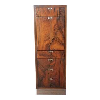 Modern Wood & Chrome Bar Cabinet For Sale