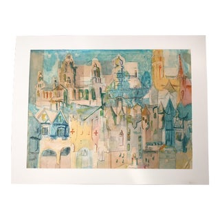 "Mid-Century ""P.M. Paris"" Cityscape Ink, Watercolor & Tissue Matted Collage For Sale"