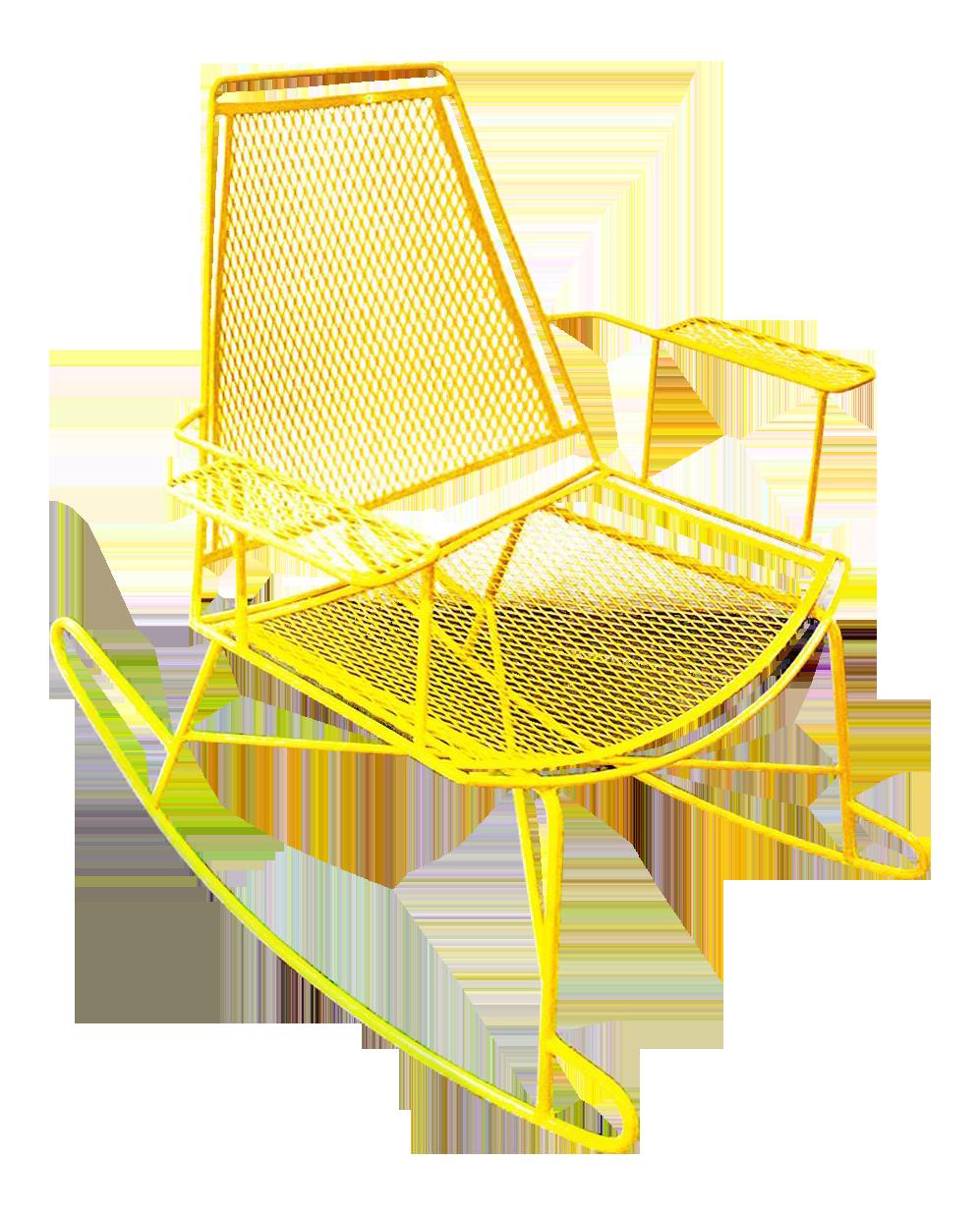 Mid Century Metal Mesh Patio Rocking Chair