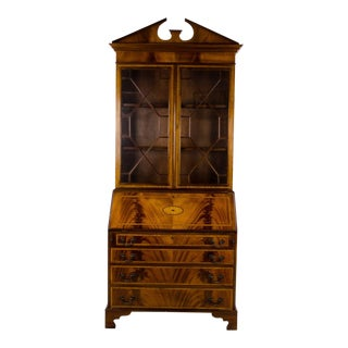 19th Century Georgian Burlwood Drop Leaf Secretary Desk And Bookcase