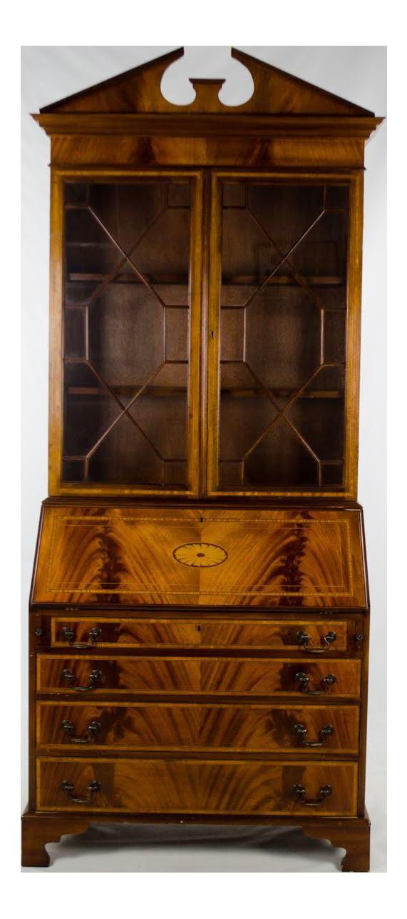 19th Century Georgian Burlwood Drop Leaf Secretary Desk And Bookcase