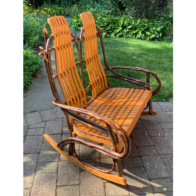 Bentwood and Twig Adirondack Double Vintage Rocking Chair For Sale - Image 13 of 13