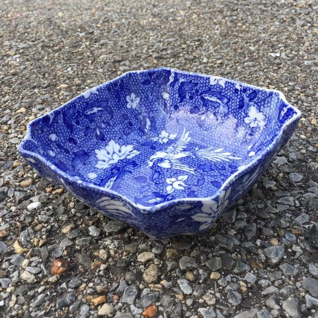 Vintage Blue Transferware Chintz Bird Bowl For Sale - Image 9 of 9