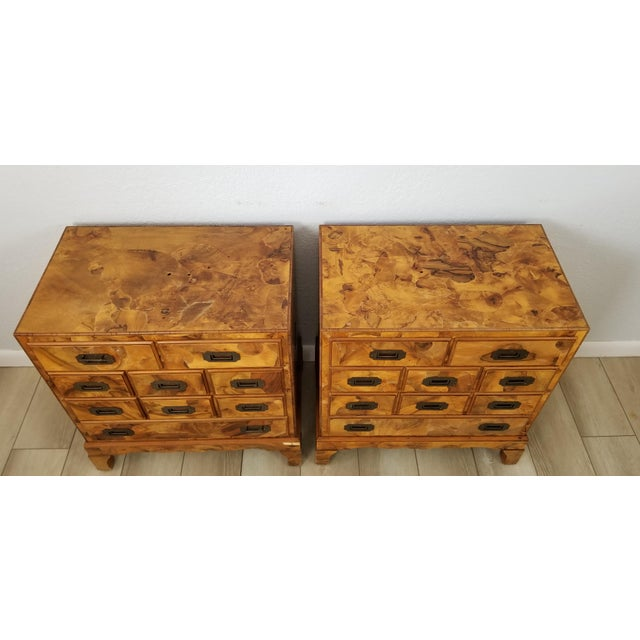 Campaign Italian Campaign Style Burlwood Patch Chest / Nightstands - a Pair For Sale - Image 3 of 13