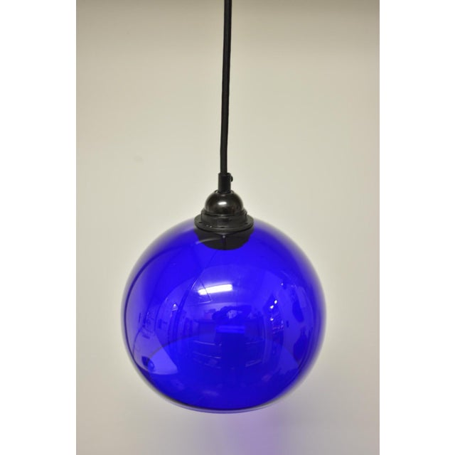 Mid-Century Modern Blue Glass Pendant Light - Image 3 of 6