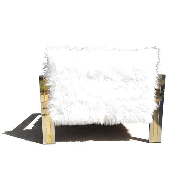 1970s Brass & Chrome Faux Sheepskin Armchair For Sale - Image 5 of 8
