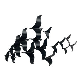 "C. Jere ""Birds in Flight"" Black Wall Sculpture, Signed/Dated For Sale"