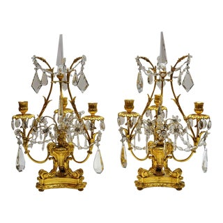 Pair Antique Baccarat Crystal Bronze D'ore Candelabra circa 1880