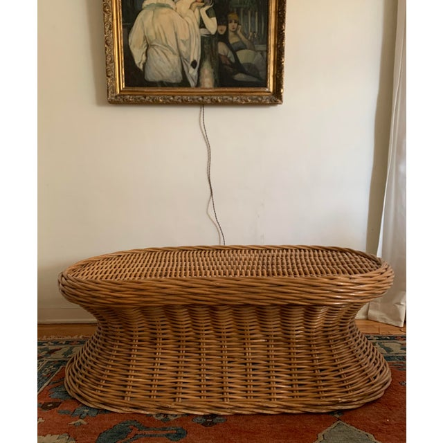 Vintage Wicker Coffee Table For Sale - Image 4 of 8