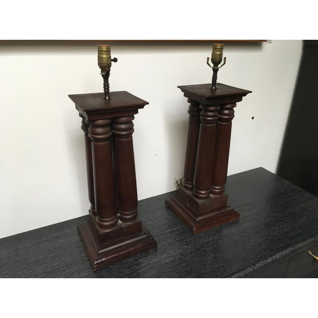 Early 20th Century Antique Wooden Architectural Table Lamps - a Pair For Sale - Image 9 of 9