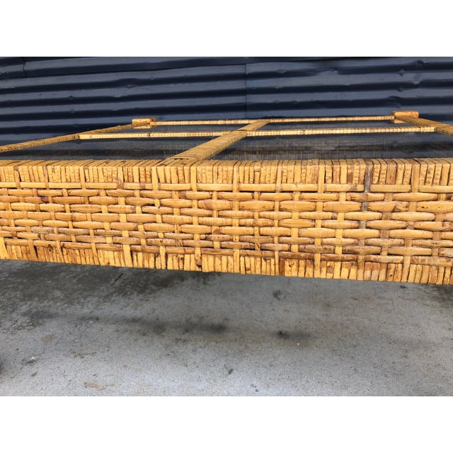 Vintage Wrapped Rattan Billy Baldwin Style Coffee Table For Sale - Image 9 of 13