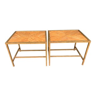 1980s Pencil Reed Bamboo End Tables - a Pair For Sale
