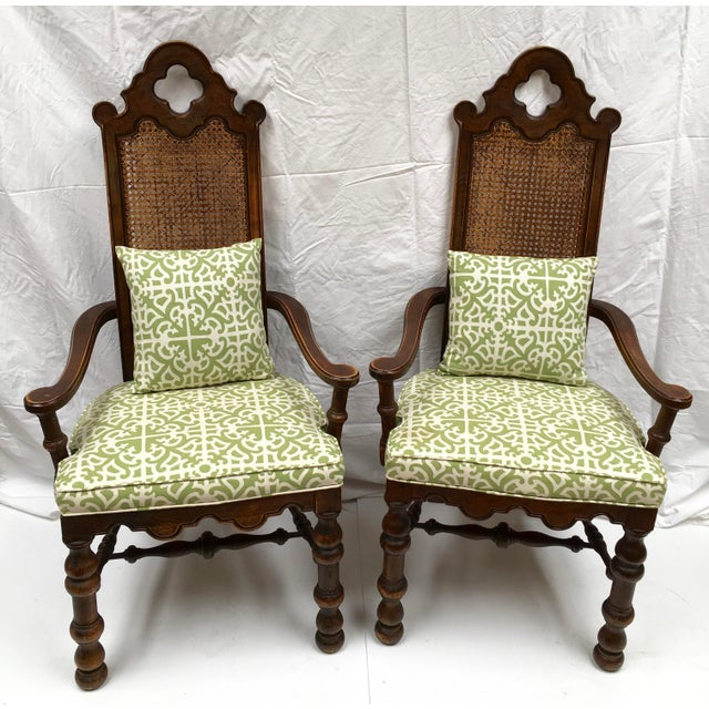 French Oak Cane Back Upholstered Chairs - A Pair - Image 2 of 11