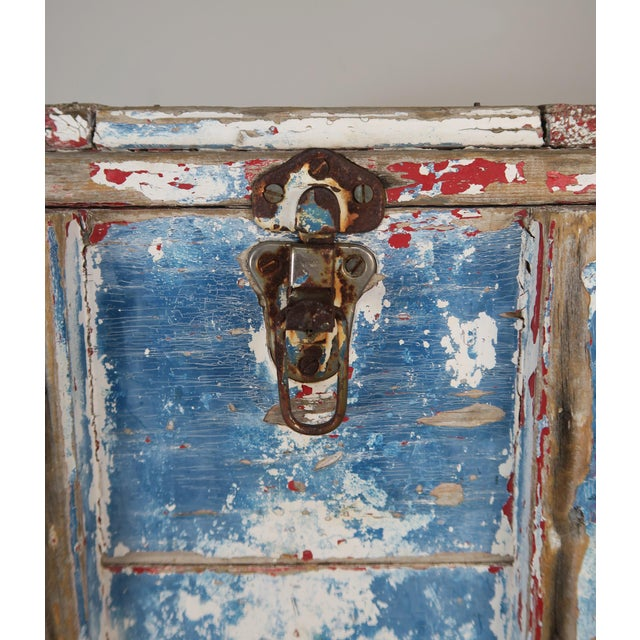 Painted Wood Work Box W/ Metal Clasp and Handles For Sale - Image 9 of 13