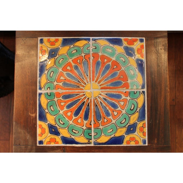 Vintage California Pottery Tile Side Table For Sale - Image 4 of 11