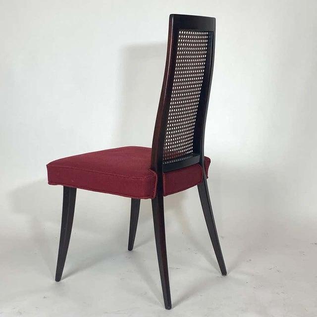 Harvey Probber Set of 4 Harvey Probber Cane and Ebonized Mahogany Model 1055 Dining Chairs For Sale - Image 4 of 9