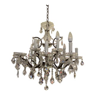 Restoration Hardware Timothy Oulton 19th CenturyRococo Iron & Crystal Round 12 Light Chandelier For Sale
