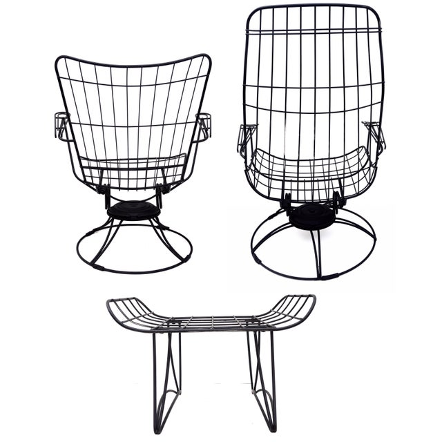 Metal Mid-Century Homecrest Metal Wire Patio Chairs & Ottoman    Indoor/Outdoor High Back Swivel Rocker Lounger Footstool Original Cushions Included For Sale - Image 7 of 10