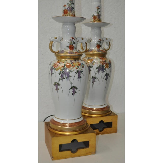 Pair of Mid-Century Japanese Kutani Porcelain Table Lamps For Sale - Image 9 of 11