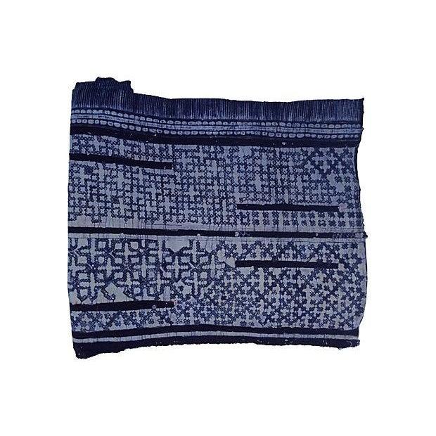 Hand Woven Indigo Batik W/ Cross Motif - 6.8 Yards - Image 1 of 2