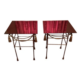 Mid Century Modern Iron Gilt Iron Tassel and Swag Tables - a Pair For Sale