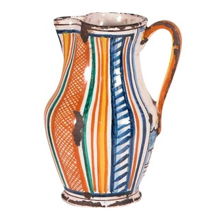 Cottage Hand-Painted Multi-Color Stripe Pattern Ceramic Pitcher For Sale