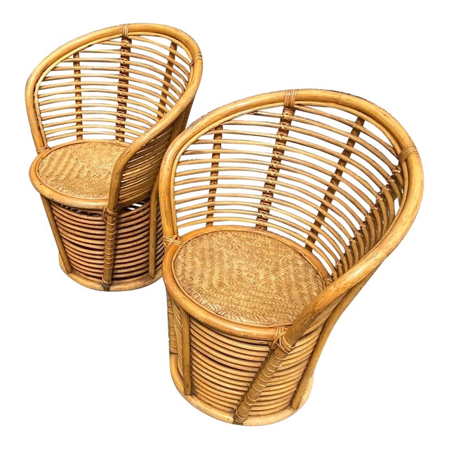 Vintage Coastal Rattan Side Chairs - a Pair For Sale