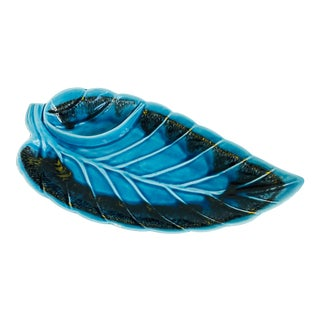 Large Mid Century Blue Pottery Leaf Tray For Sale