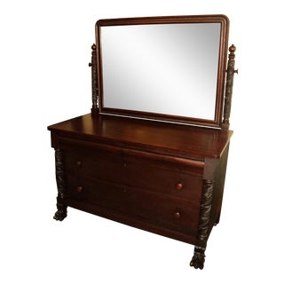 Berkey & Gay Antique Empire Mahogany Dresser & Mirror For Sale