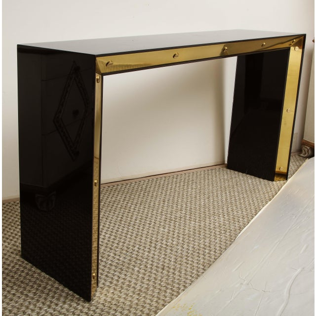 Paint Brown Lacquered Console with Brass Accents For Sale - Image 7 of 9