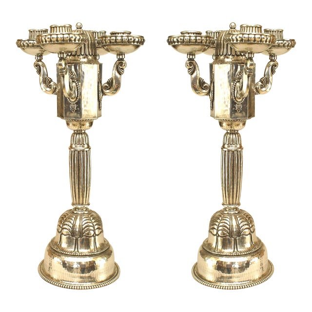 Pair of Austrian Art Deco Silver Plate Candelabra For Sale
