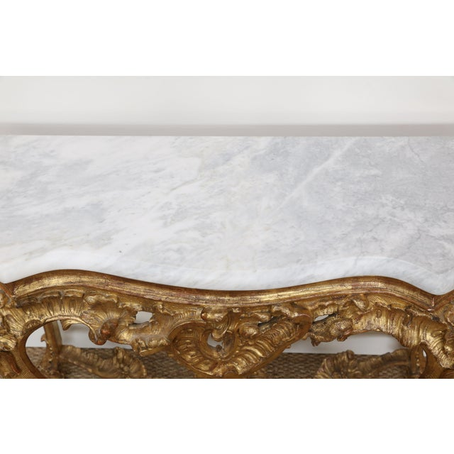 Rococo Gold Gilt Console With Custom Cut Marble Top For Sale - Image 3 of 12