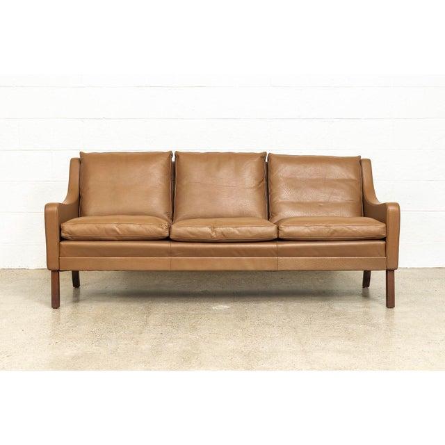 Vintage Mid Century Danish Modern Brown Leather Sofa