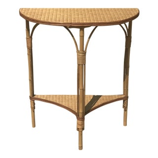 Hollywood Regency Rattan, Bamboo, and Seagrass Demi Lune Table For Sale