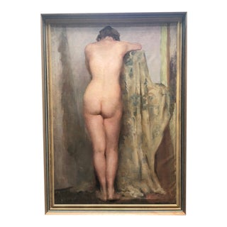 Female Nude Unsigned Oil on Canvas Painting For Sale