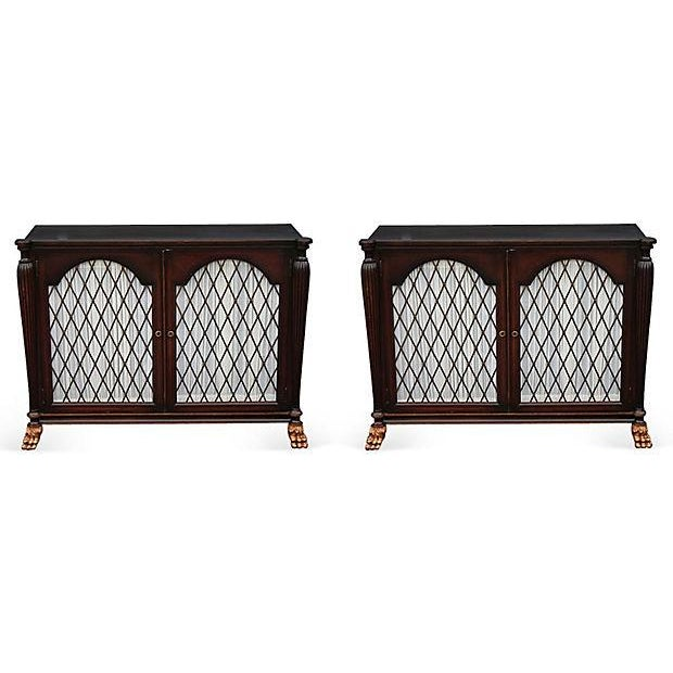 Mid Century Bachelors Chests With Brass Latticework - Pair - Image 1 of 6