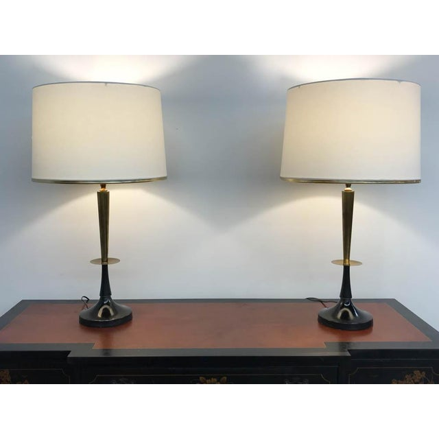 Mid Century Black and Brass Lamps - a Pair - Image 3 of 6