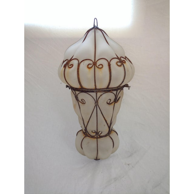 Boho Chic 1960s Vintage Egyptian Blown Glass Lantern For Sale - Image 3 of 10
