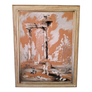 """""""Neoclassical Ruins"""" Framed Watercolor Print by Roderic Montagu Connors For Sale"""