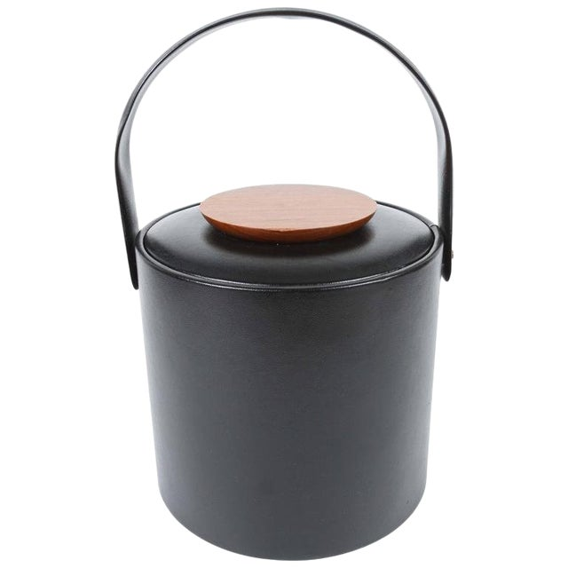 Vintage Georges Briard Black Ice Bucket With Cover For Sale