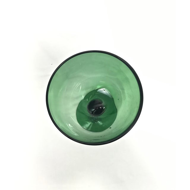 1960s Green Blown Glass Compote For Sale In Raleigh - Image 6 of 7