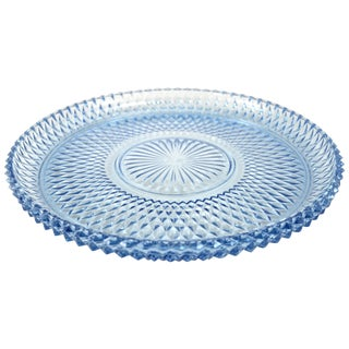 1960s Ice Blue Diamond Point Tray