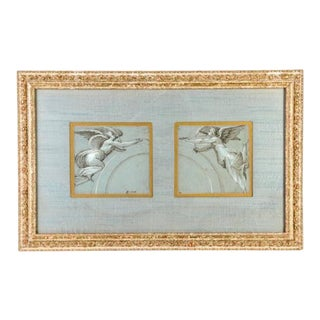 """Charming 18th Century French Pastel, """"heralding Angels"""" in Giltwood Frame For Sale"""