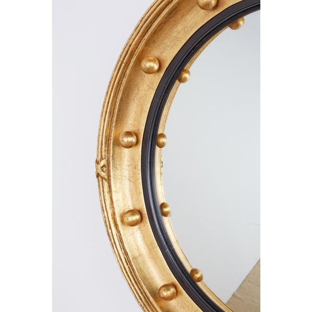 Gold English Regency Style Round Convex Bullseye Mirror For Sale - Image 8 of 12