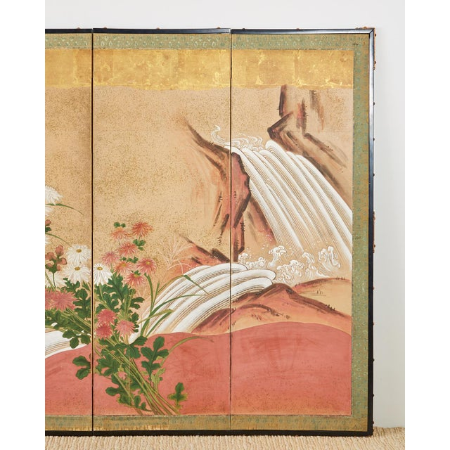 Late 19th Century Japanese Six Panel Meiji Screen Chrysanthemums and Waterfall For Sale - Image 5 of 13