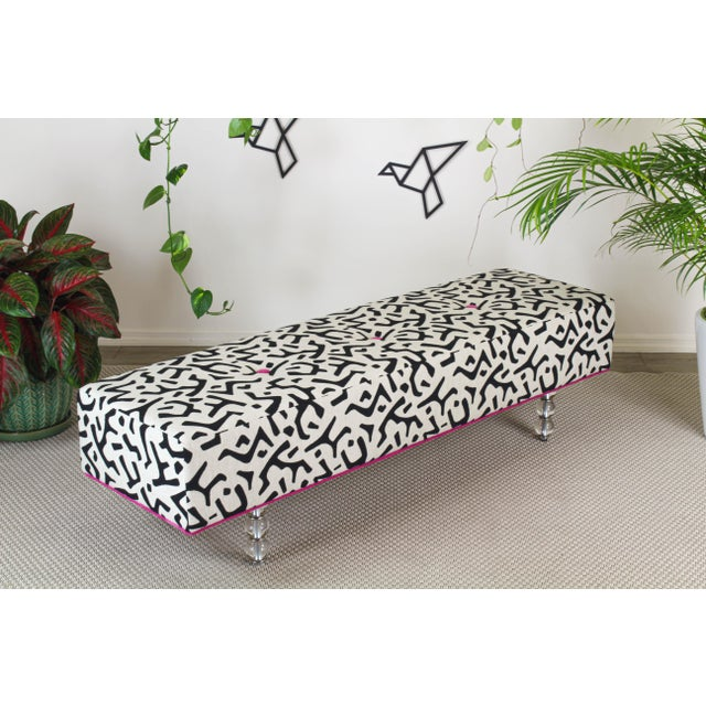 Black Black & White Ottoman on Glass Legs, Black & White Bench For Sale - Image 8 of 10
